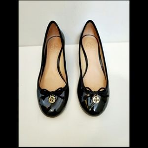 Tory Burch Black Patent Leather Wedge Heels